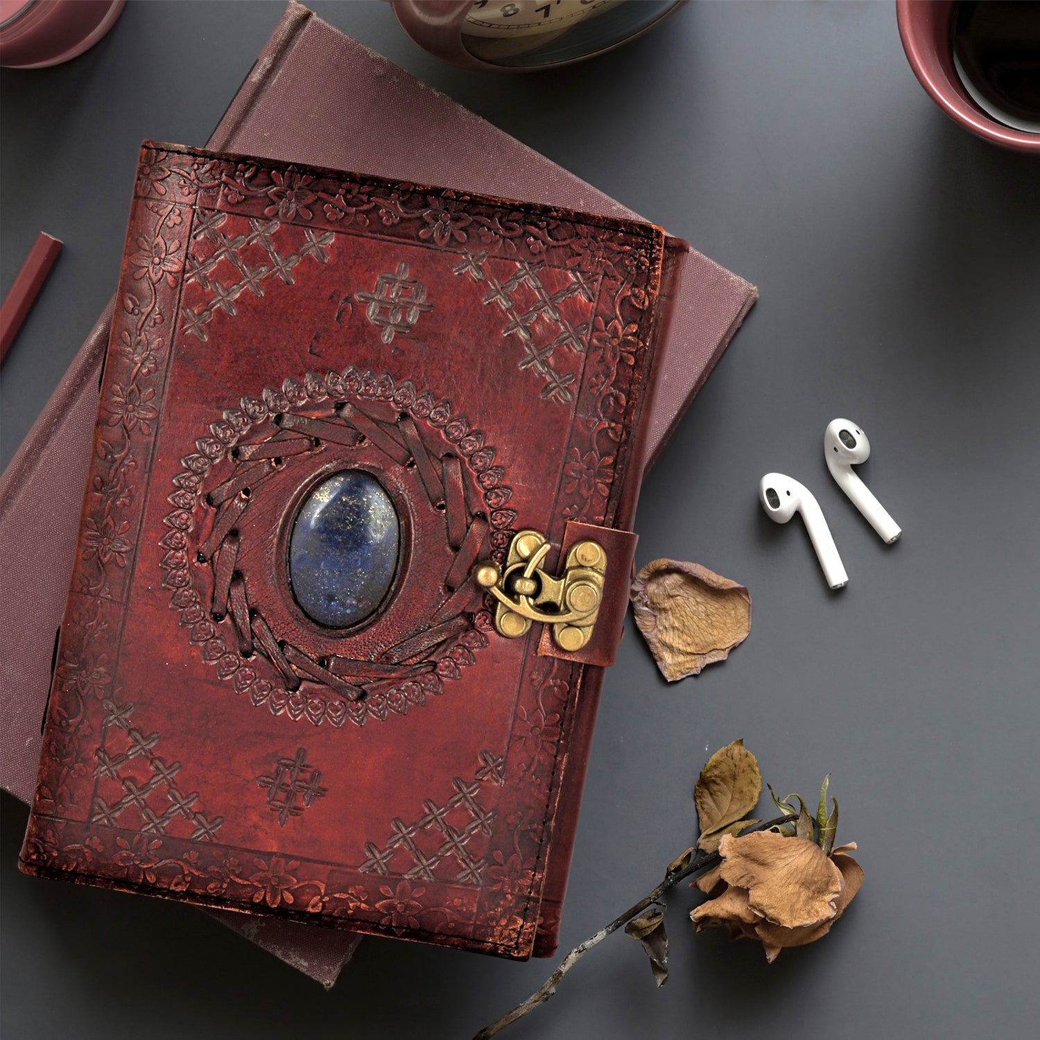 Utopian Leather Journal with Semi-precious Stone & Buckle Closure Leather Diary Gift for Him Her