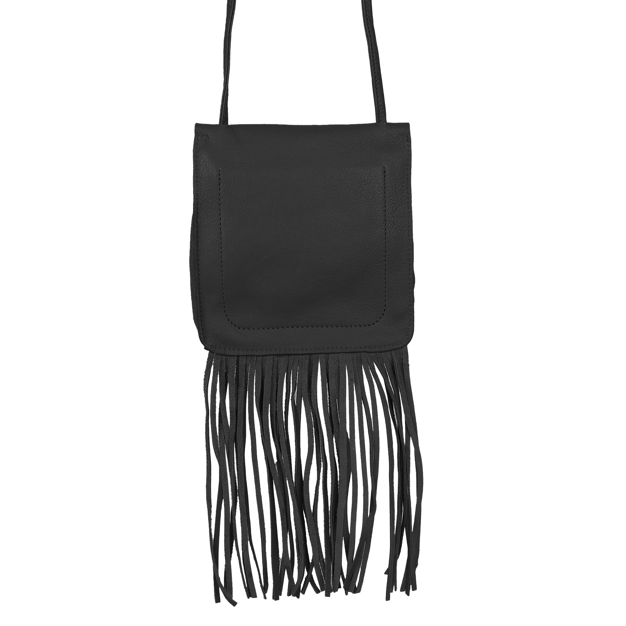 Leather Fringe Boho Crossbody Bag with Tassel for Women (Small, Black)