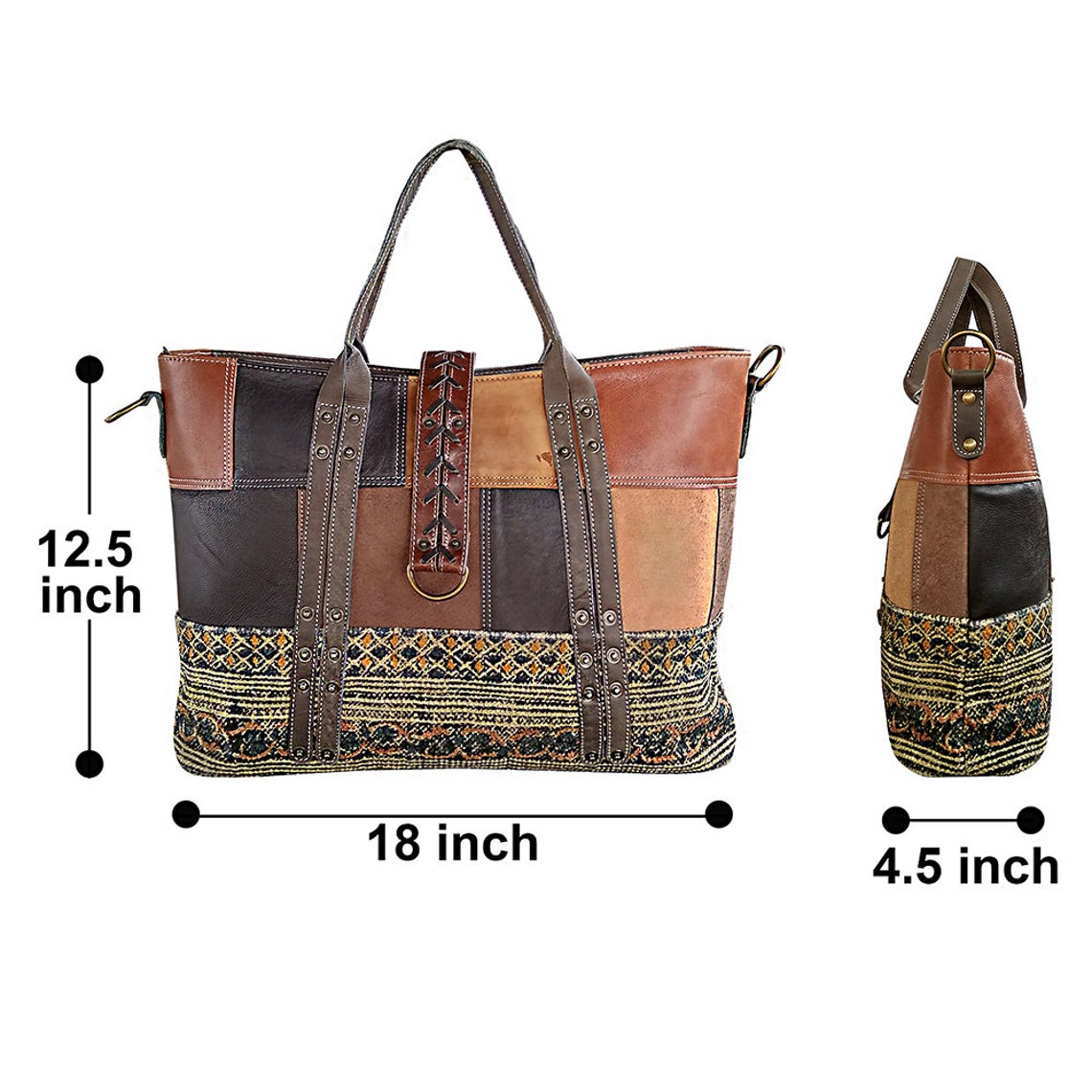 Woven Fabric Leather Shoulder Bag Women Handbag Women Tote Shopping Bag Fabric Shoulder Purse Boho Tote