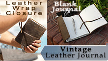 Load and play video in Gallery viewer, Vintage Leather Bound Journal - Travel Diary for Men Women