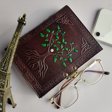 Load image into Gallery viewer, Hand Painted Sacred Tree of Life Leather Journal