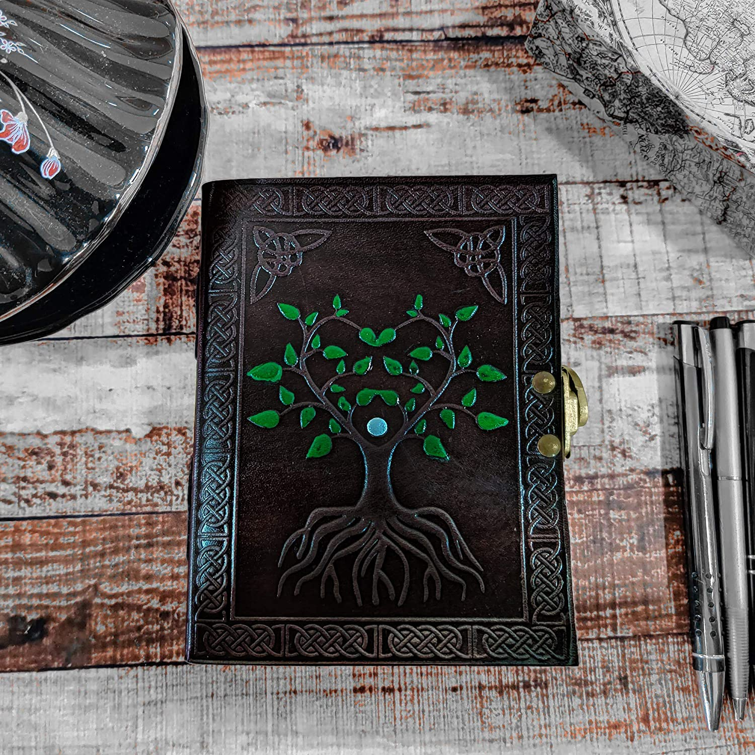Hand Painted Sacred Tree of Life Leather Journal