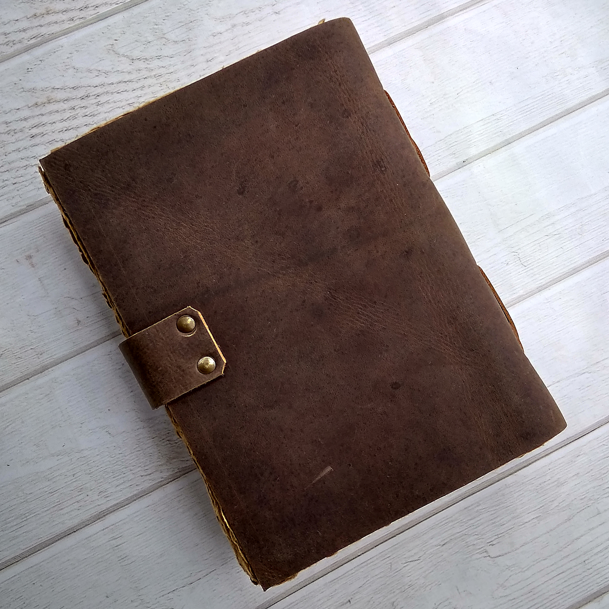 Leather Bound Journal - Handmade Antique Deckle Edge Paper - Leather Sketchbook