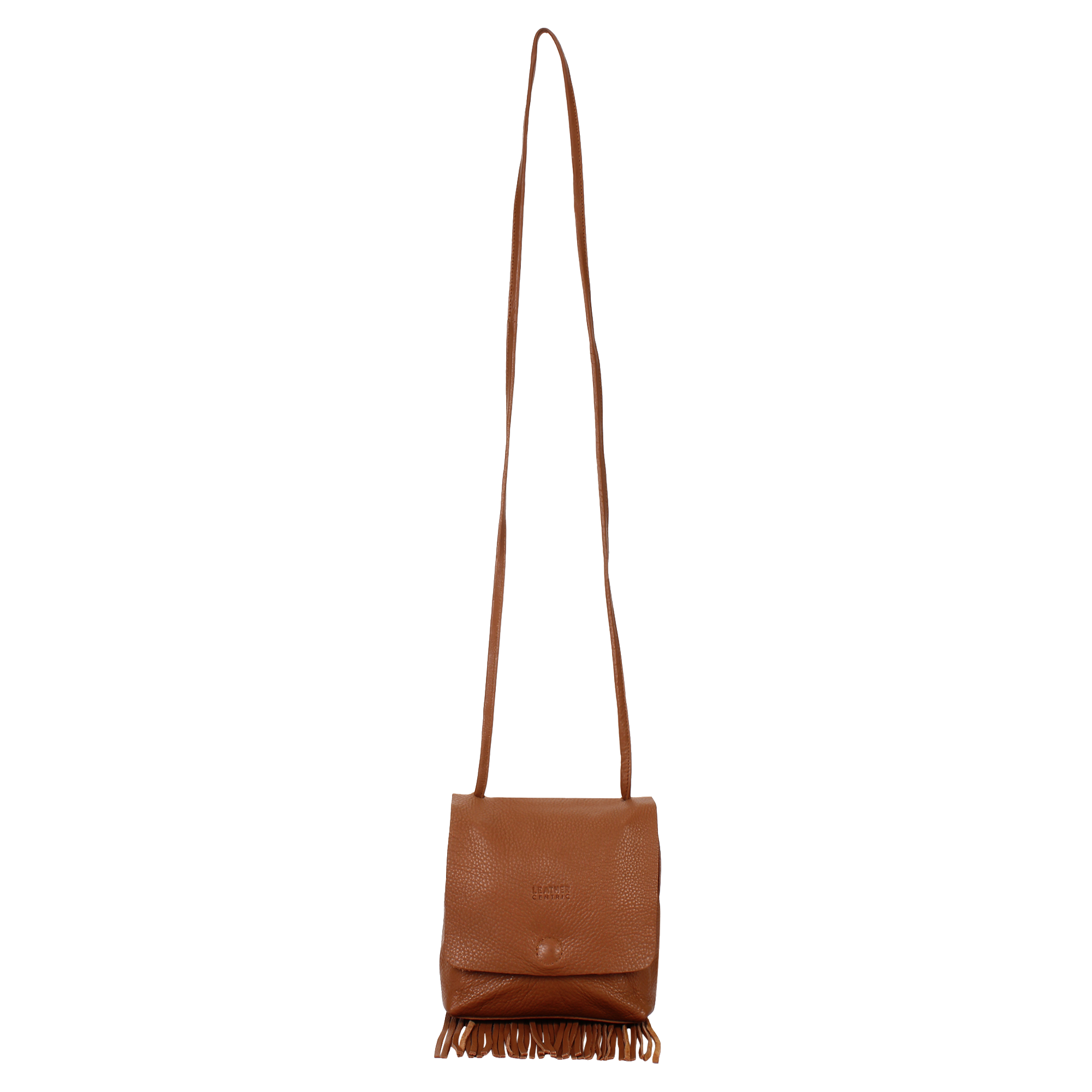 Leather Fringe Boho Crossbody Bag with Tassel for Women (Small, Brown)