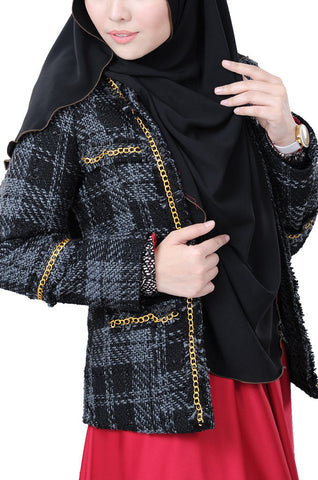 Elegant  Corporate Looks El Chanelite Exclusive Black Blazer For Women Syariah Compliant ELLE ZADA