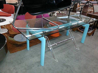 Le Corbusier Dinning Table W Glass / Desk Console LC6 Authentic Vintage  Cassina