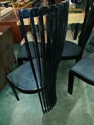 Fillmore Harty 1980s 4 Black Lacquered Tripodal Chairs Italy Tonon Hollywood Regency