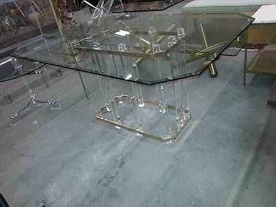 Charles Hollis Jones Lucite Brass & Glass Dinning Table Original Mid Century