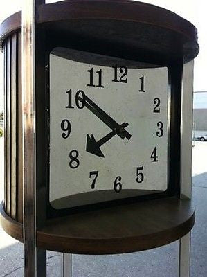 Clock - Vintage Chrome & Wood Floor Clock Glass Shelf Tandem Drawer Nelson Hands 1960s