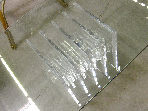 Charles Hollis Jones Lucite /Acrylic & Glass Coffee Table Hollywood Regency
