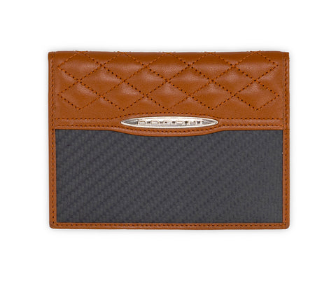 Pagani Automobili passport and card holder - Brown leather and Carbon Fiber