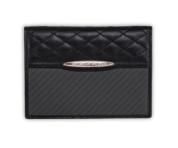 Pagani Automobili passport and card holder - Black Leather and Carbon Fiber