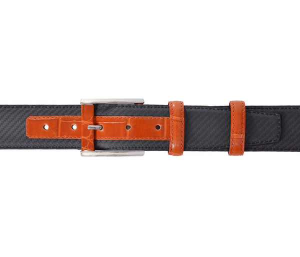 Orange Crocodile&Carbon Fiber Belt