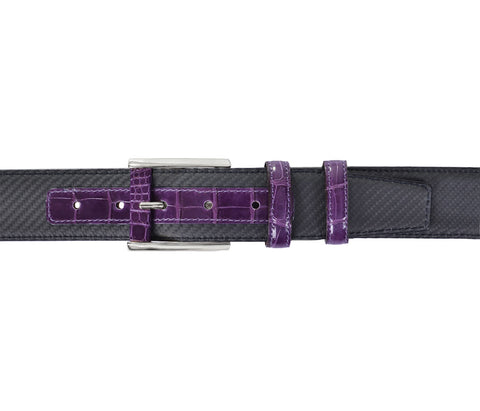 Purple Crocodile&Carbon Fiber Belt