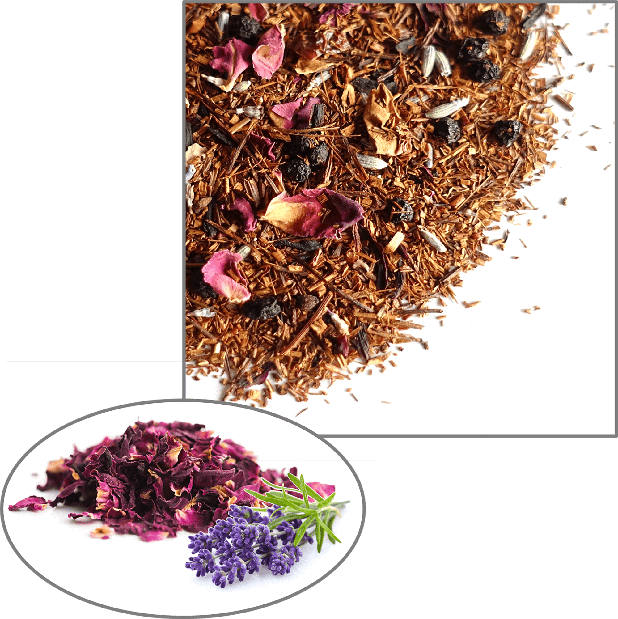 A reddish golden pile of rooibos tea leaves mixed with rose petals that makes up a sample of Cape De Hoop's Blended Rooibos tea.