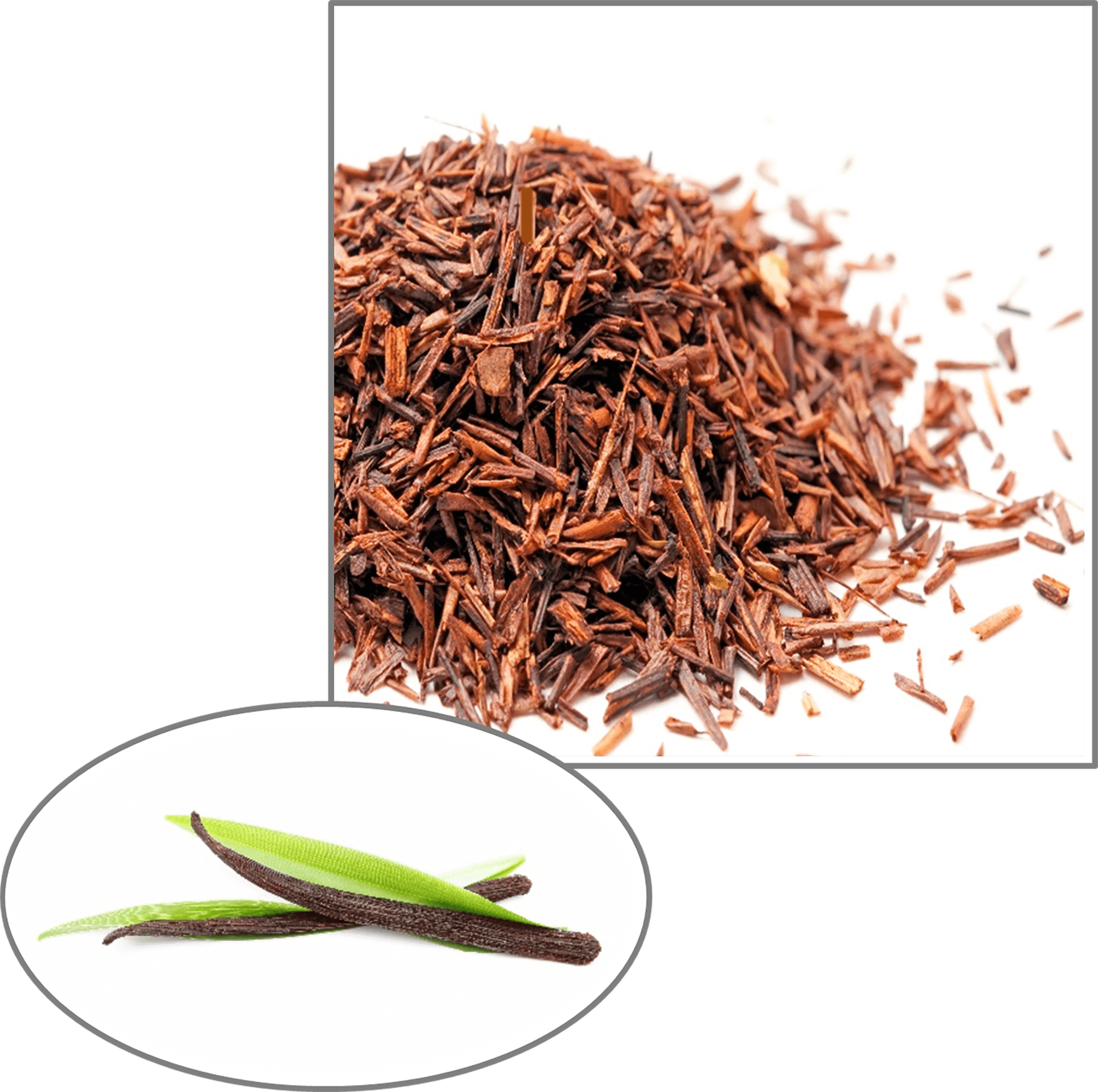 A reddish golden pile of rooibos tea leaves that are naturally flavoured, a sample of Cape De Hoop's flavoured rooibos tea.