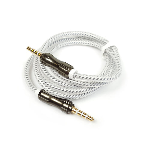 3.5mm to 3.5mm PREMIUM Braided Aluminium Coloured Jack Lead Ipod Aux Wire Cable