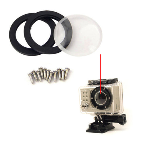Waterproof Replacement Glass Round Lens Ring Cover Screw Kit For GoPro Hero 2