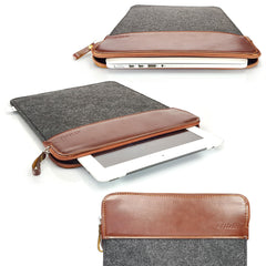 Apollo Tan & Felt Zip Laptop Sleeve Case Cover For Apple Macbook Pro & iPad
