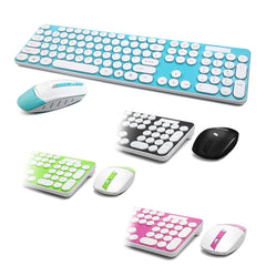Rounded Retro Key Wireless 2.4GHz Keyboard and Mouse
