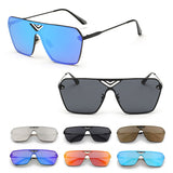 Mens Coloured Retro Polarized Square Modern Mirrored Electro Festival Sunglasses