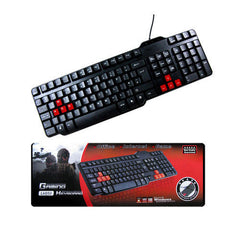 USB Waterproof Multimedia Gaming Keyboard - Red & Black