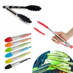 Silicone Kitchen Tongs BBQ Food Utensil Cooking Salad Server Stainless Steel