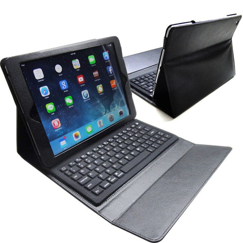 Black PU Leather Bluetooth Keyboard Cover Case Stand for iPad Air 5
