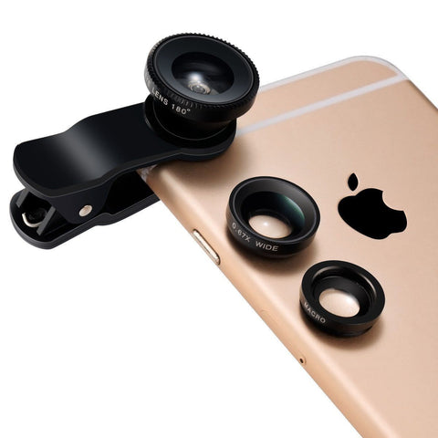 3 In 1 Camera Lens Kit Wide Angle Fish Eye Macro For Smartphones Apple Samsung