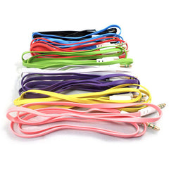 3.5mm to 3.5mm Coloured Noodle Jack Lead IPod Gold Aux Input Wire Cable