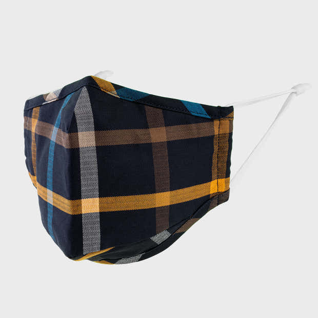 Blue and Yellow Plaid Face Mask 1