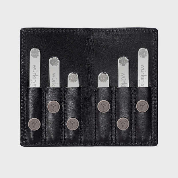 Power Stays Assorted Size Leather Travel Set - Black 1