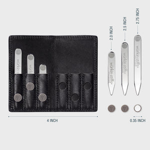 Power Stays Assorted Size Leather Travel Set - Black
