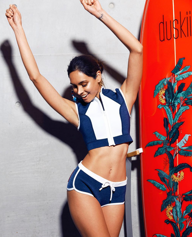 Duskii neoprene crop top and neoprene swim shorts