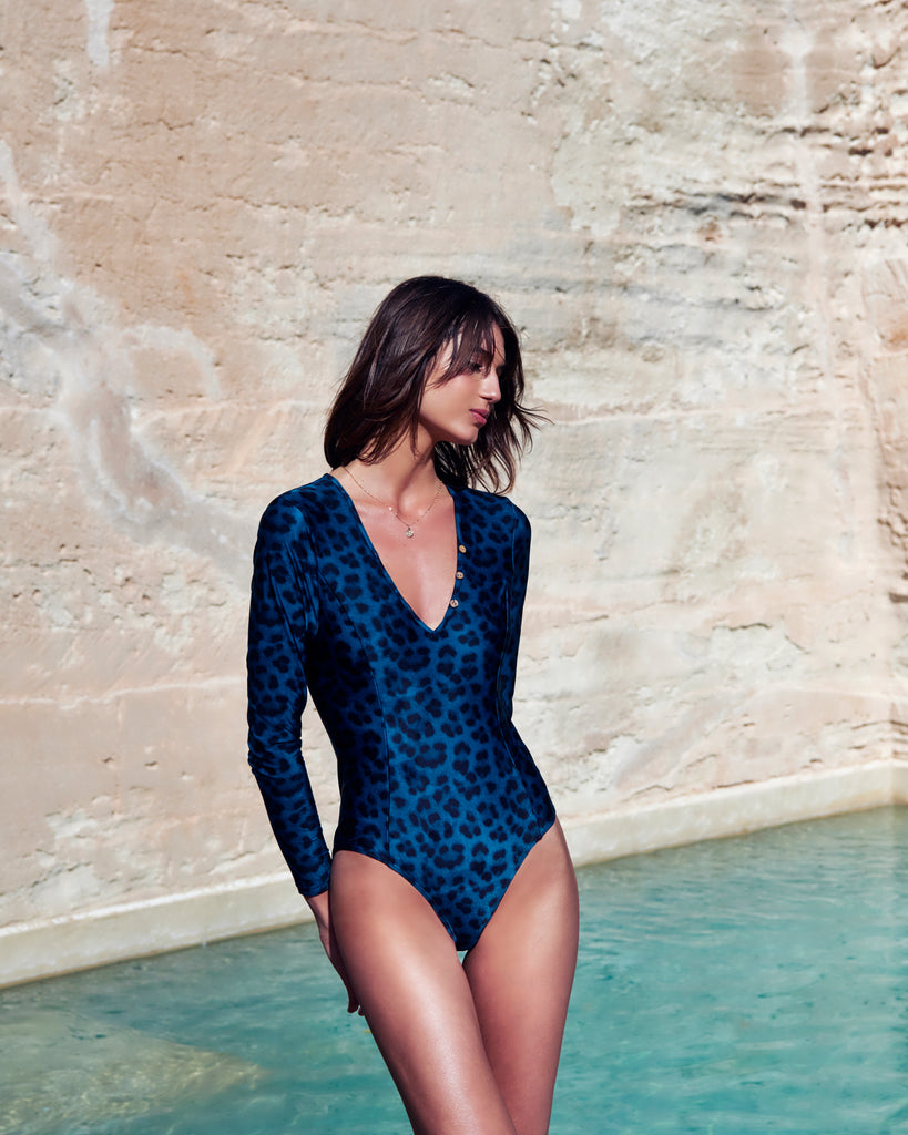 Océane Sleek Long Sleeve One Piece | Leopard Teal