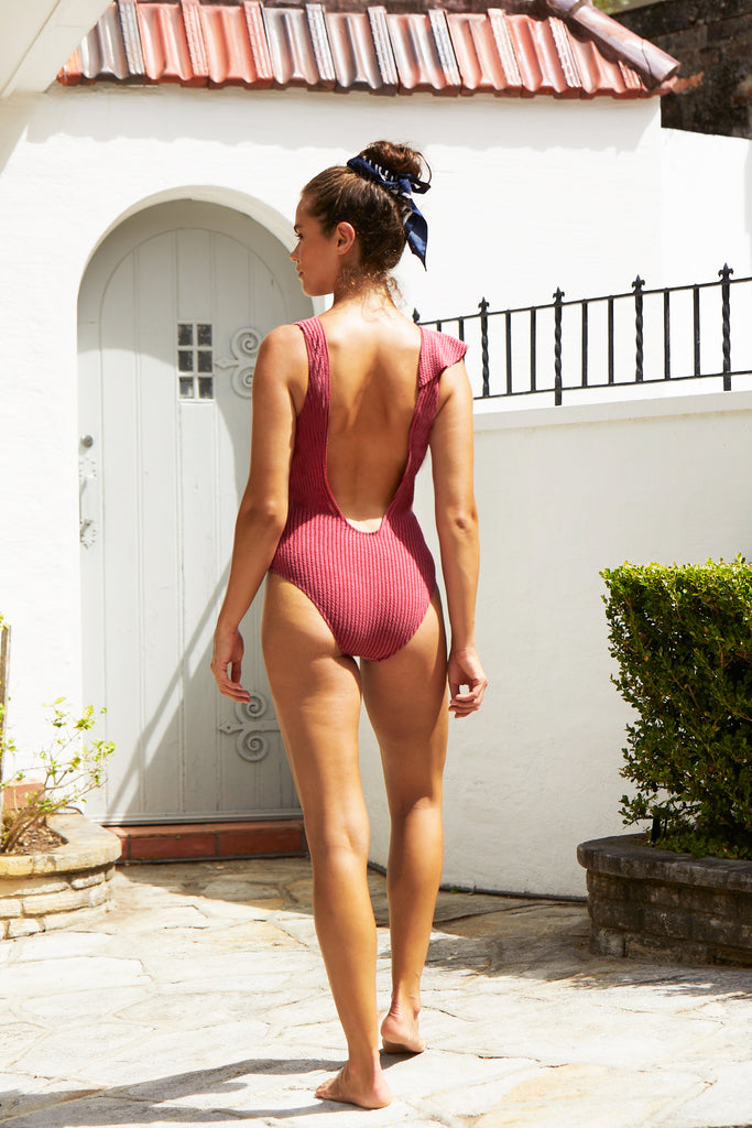 Bella Frill One Piece Suit | Raspberry