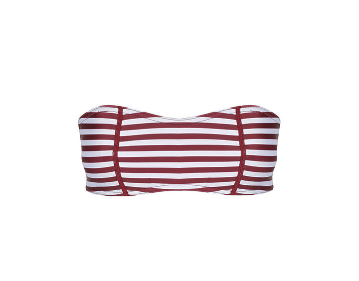 Claudia Bandeau Top | Burgundy & White Stripe