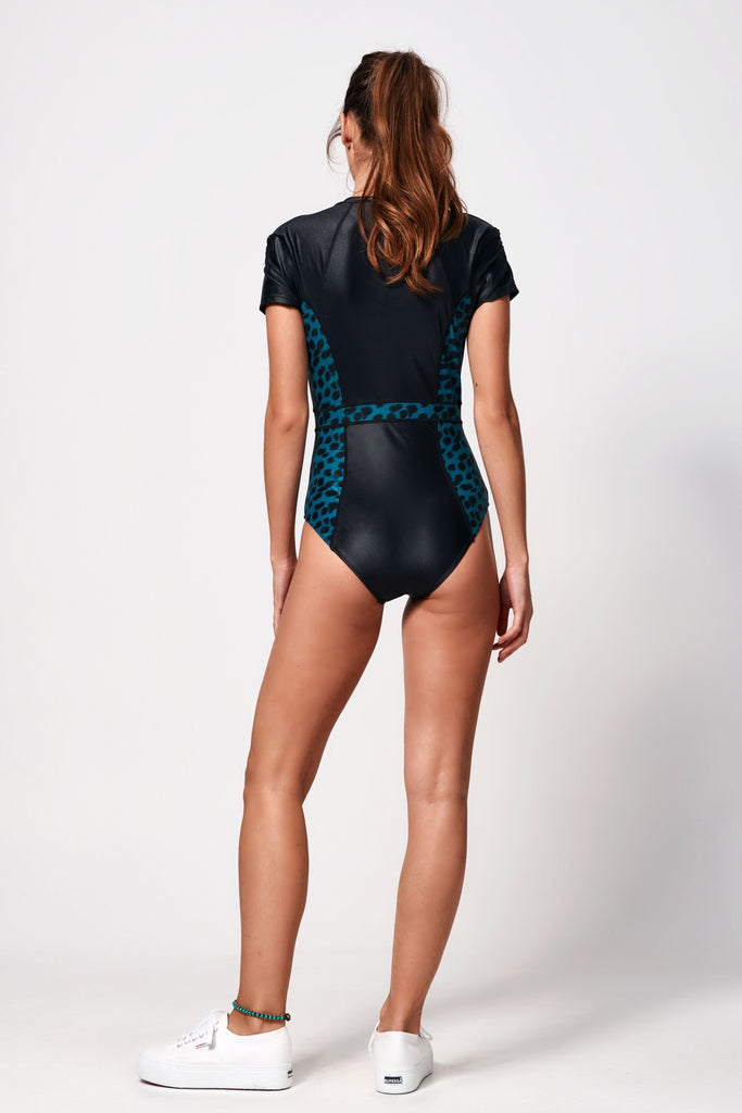 Océane Short Cap Sleeve Suit | Black & Leopard Teal
