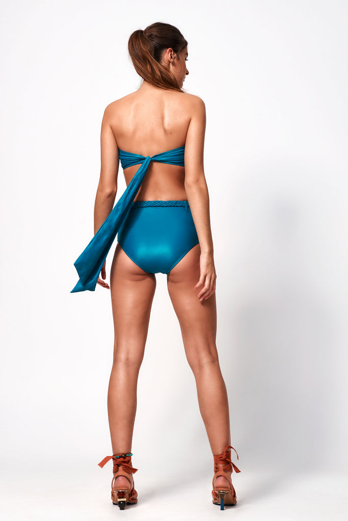 Océane Deep V Bandeau Top | Teal