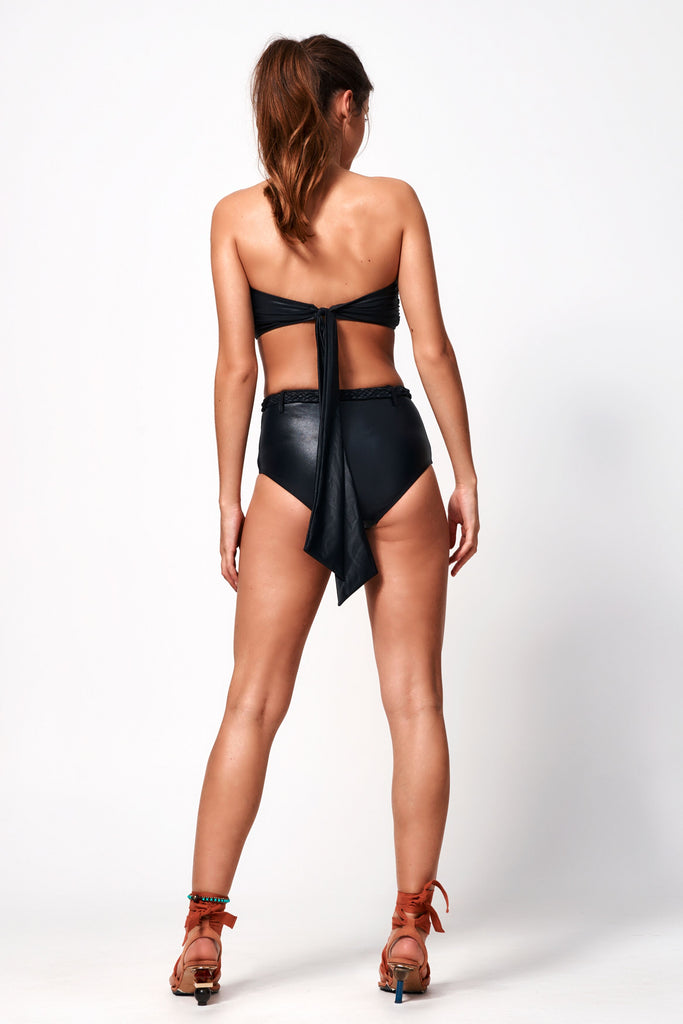 Fleur Belted High Waist Bottom | Black