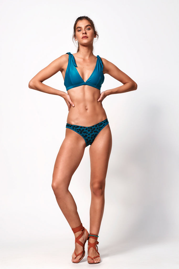 Océane Deep V Bottom |  Teal & Leopard Teal