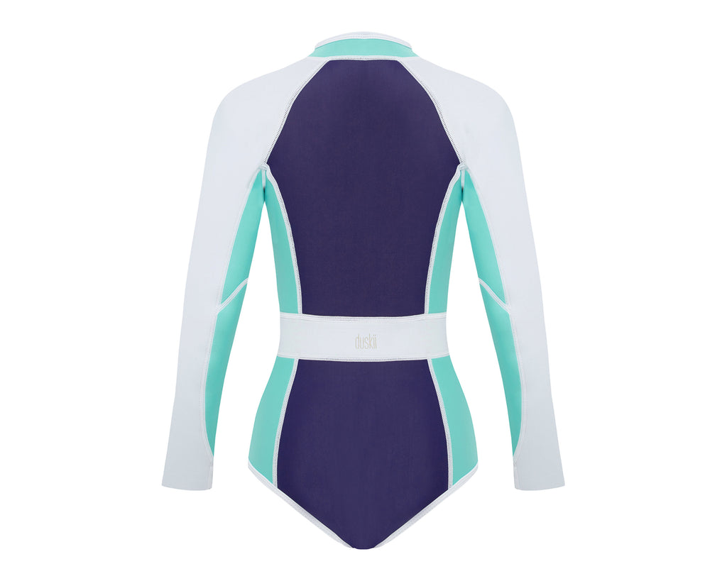 duskii Girl Darcy Long Sleeve Spring Suit | Turquoise/Navy/White