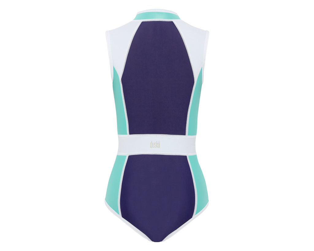 duskii Girl Darcy Tank Suit | Turquoise/Navy/White