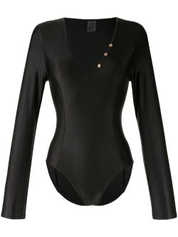 Fleur Sleek Long Sleeve One Piece | Black