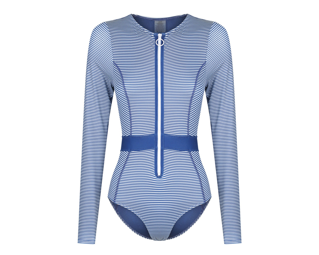 Gigi Long Sleeve Bikini Suit | Blueberry Stripe