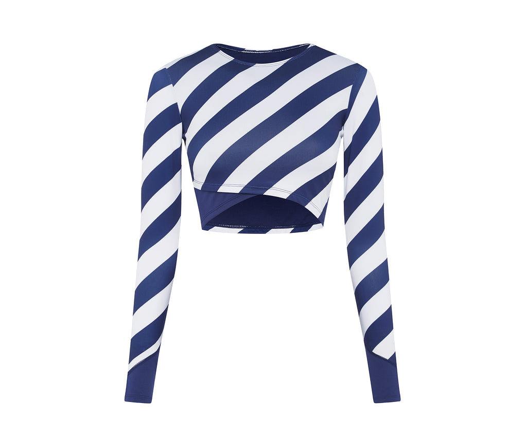 Long Island Crop Rash Top | Blueberry Stripe