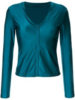 Océane Long Sleeve Plunge Rash Top | Teal