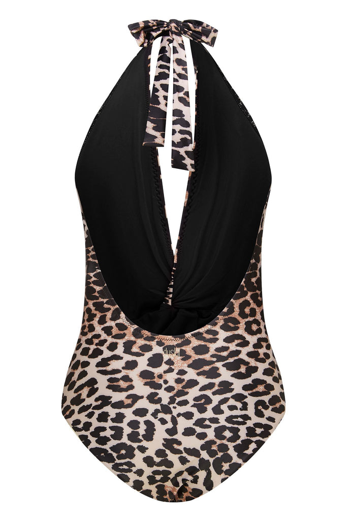 Twist Halter One Piece | Leopard Print