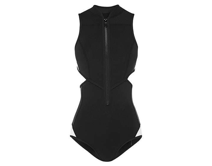 Waimea Bay Cut Out Tank Suit | Black & White