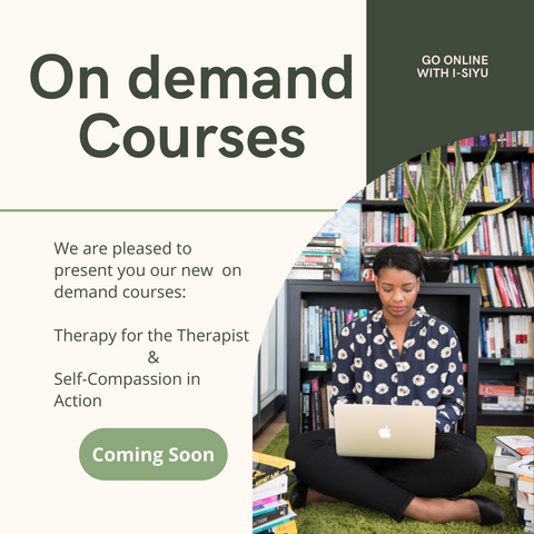 Title is on demand courses. A picture of pretty Black woman sitting on the floor with a laptop. She's surrounded by books and greenery. I-siyu will be offering two courses: Therapy for the Therapist and Self-compassion in action. Optional continuing education units available